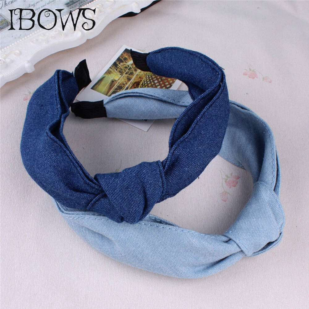 Lovely Women Hairbands Denim Fabric Bow Knotted Headbands For Girls Kids Boutique   Headwear   Hair Accessories Top sale
