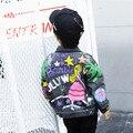 Crianças coreano casaco 2017 primavera do Menino Novo Da Menina Cowboy crianças Denim Jacket Frete Grátis