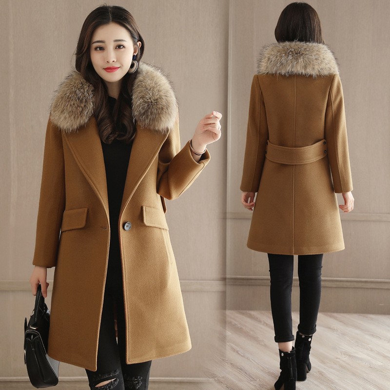 Manteaux Seul Et Hiver Office Longs 2018 imitation Femmes Manteau Collar Mélange Fur Imitation Dames Laine Bouton down Slim Veste Lady Collar Turn q7qw0tF