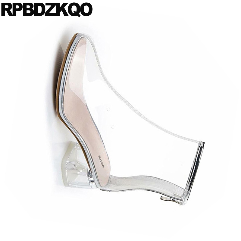Rond Transparent Marque Bout 2018 Chaussons Chaussures Courtes Clair Femmes Bottines Imperméables Chunky Designer Pvc Noir blanc Épais Automne tqP7Inwp