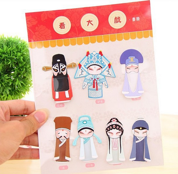 7PCS/set Creative Chinese Style Classical Elements Of Peking Opera Drama Mask Bookmark/DIY Multifunction Bookmarks