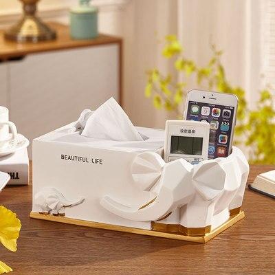 Нордическая Смола слон коробка для салфеток ретро гостиная многофункциональный ящик для хранения пультов дистанционного управления домашнее бумажное полотенце домашний декор - Цвет: A