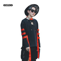 Ribbon Letter Printing Men Long Sleeve Sweatshirt Male High Street Fashion Casual Pullover Hoodie Coat Autumn