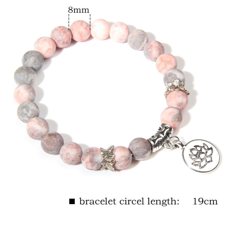 Handmade Natural Stone Lotus Ohm Buddha Beads Bracelet Pink Zebra Stone Lotus Charm Bracelet for Women Men Yoga  Jewelry Gifts 1