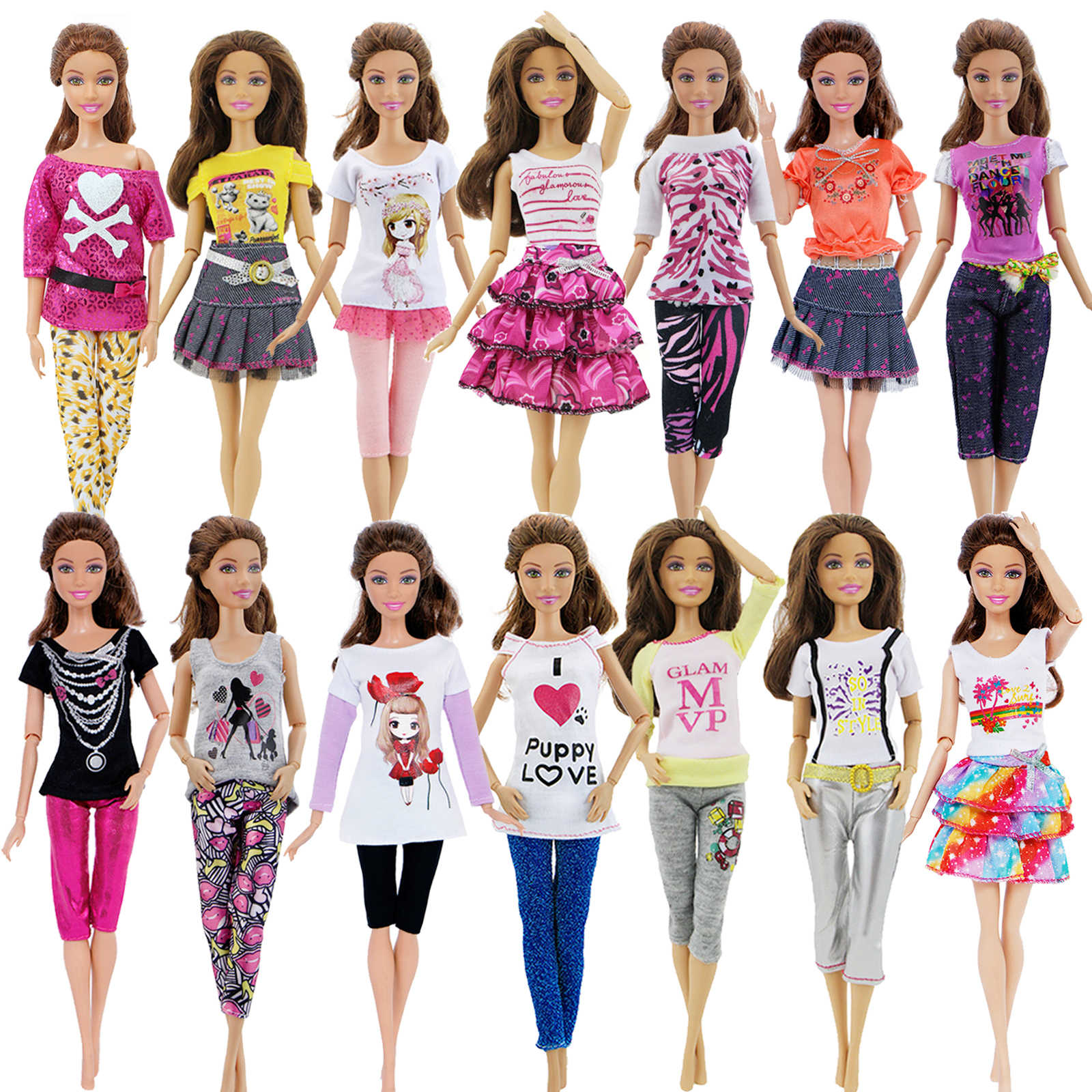 1x Fashion Mix Style Cute Doll Clothes Dress Daily Casual Skirt Shirt Blouse Pants For Barbie Doll Accessories Lovely Girl Toy Aliexpress