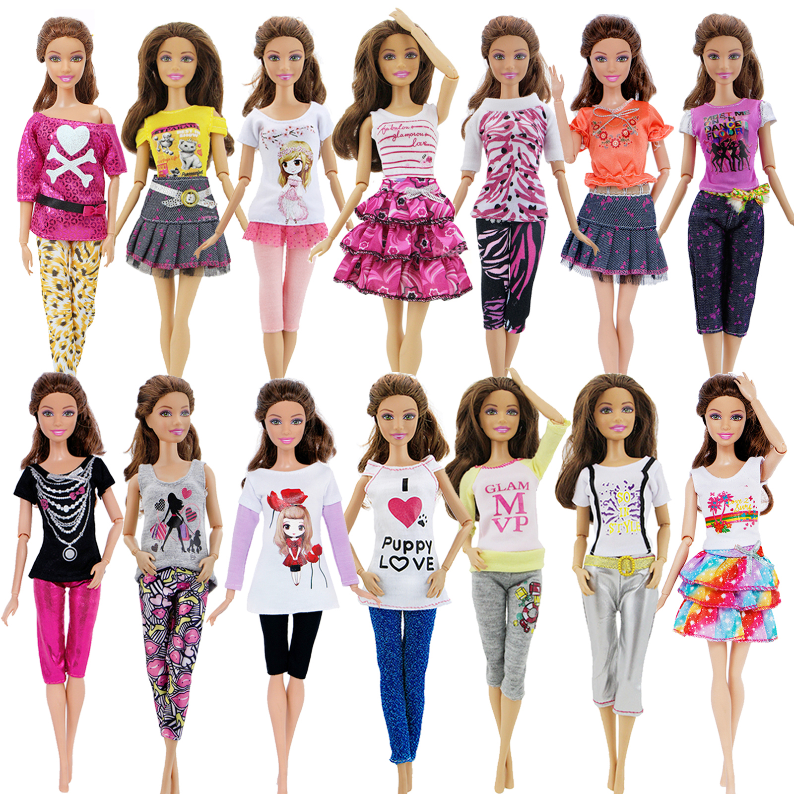 1x Fashion White  Cute Doll Clothes Dress Daily Casual Skirt Shirt Blouse Pants For Barbie Doll Accessories Lovely Girl Toy