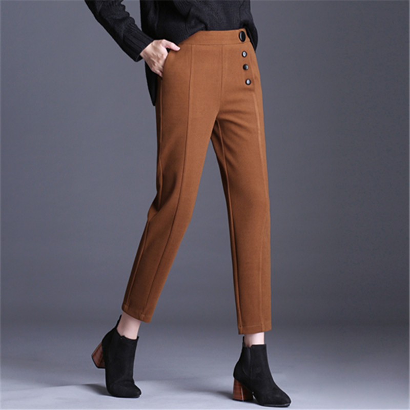 High Waist Thicken Pencil   Pants     Capris   Women Woolen Buttons Streetwear Casual   Pants   2018 Autumn Winter Chic Female Trousers