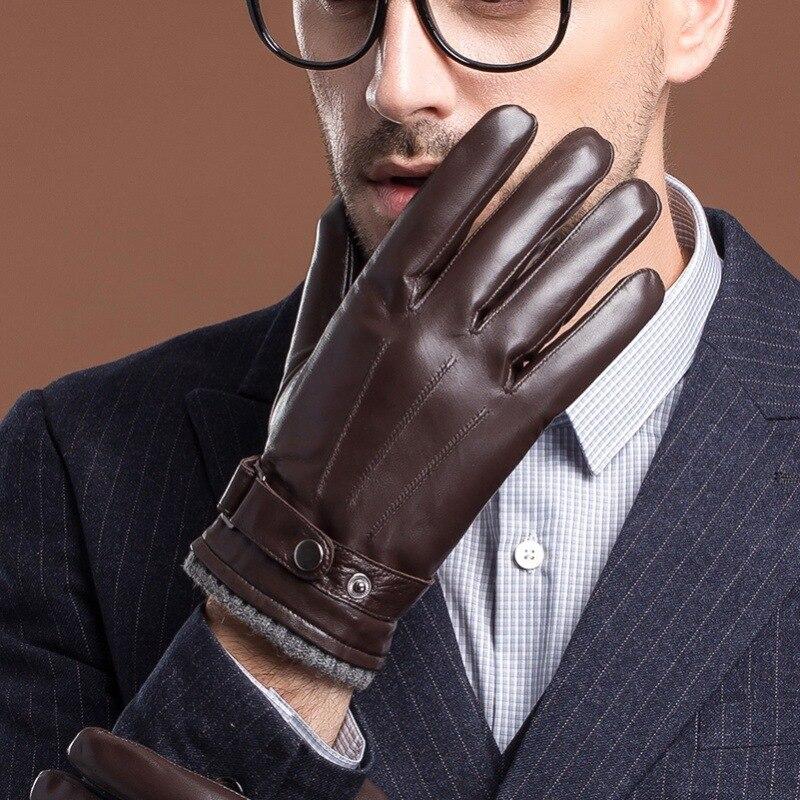 Homme vrai cuir gants de chèvre noir/marron écran touché gants hommes automne/hiver chaud en plein air Gym Luvas voiture conduite mitaines