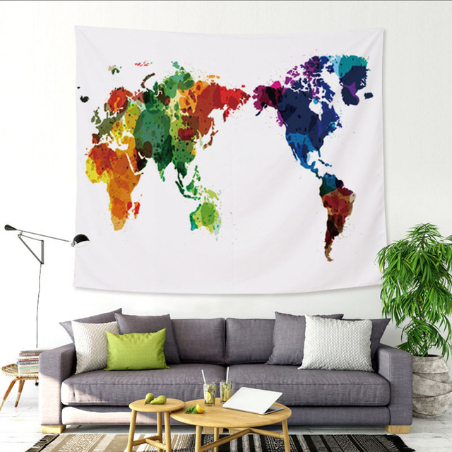 World Map Throw Rug: Vintage Decoration World Maps Tapestry Wall Hanging Sandy