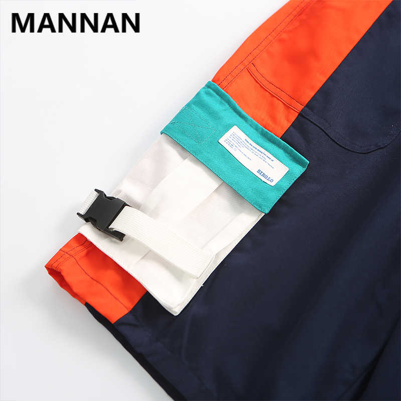 Мужские шорты MANNAN повседневные в стиле хип-хоп Мягкие Лоскутные уличные свободные мужские шорты Карго летние модные уличные Бермуды