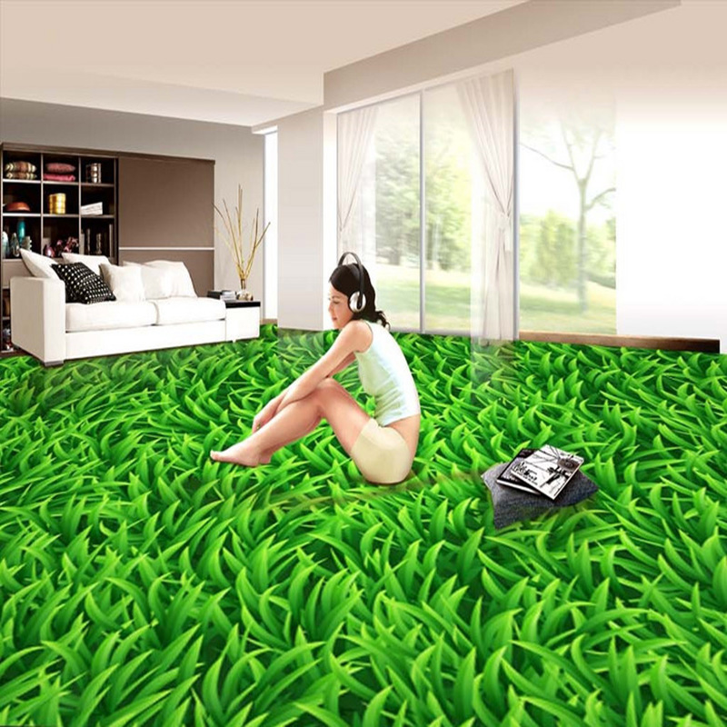 Custom Mural Wallpaper 3D Stereo Green Lawn Floor Tiles Sticker Living Room Bedroom Kitchen PVC Waterproof