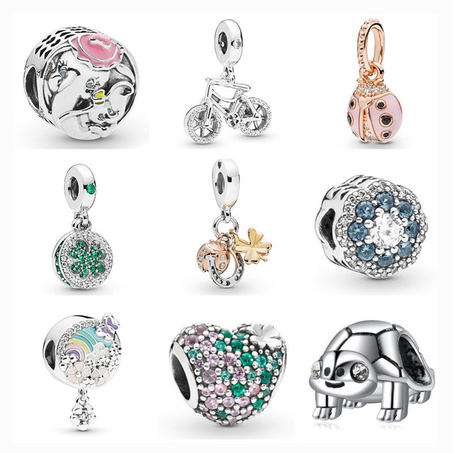 d98852830 free shipping pink gold ladybug silver Dazzling Clover bicycle flower  butterfly bead fit pandora charms silver 925 original S014