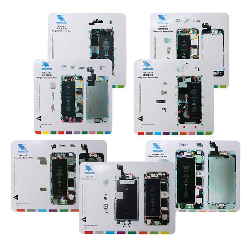 imágenes para 4 unids alta calidad profesional magnético tornillo mat almohadilla de trabajo herramienta de reparación de apertura para iphone 5/5s/5c/6/6 plus/6 s/6 s plus