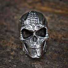 Cool Mens Punk Mechanical Skull Stainless Steel Ring Rock Gothic Biker Rings Steampunk Jewelry