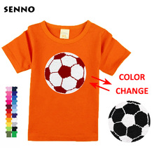 Changing color reversible switchable sequins boys T-shirts f