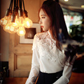 Original New 2016 Brand Blusas Autumn Korean Embroidery Flower Slim Elegant Long Sleeve White Blouses Women Plus Size Wholesale