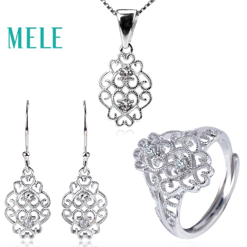 Diamant naturel 925 syerling argent ensembles de bijoux pour les femmes, 1.8mm rond coupe pierre gemme mode et classique bijoux fins