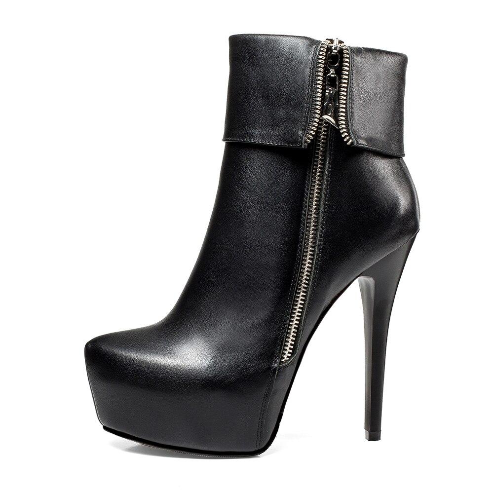 Talons Zip Femmes Bottes Mince Noir Vache Cheville Chaussures Up Véritable Nouvelle Femme En Sexy De Cuir Marque Doratasia Parti Hauts BxZwgO4