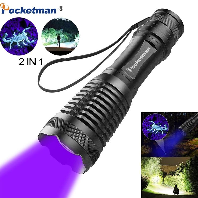 2 em 1 395nm UV Lanterna LED Tactical Flashlight Torch Detectores para o Tapete de Urina Animal de Estimação Pegar Escorpiões camping caminhadas pesca