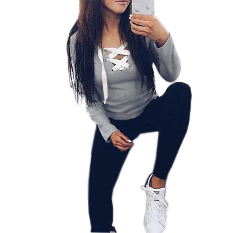 2019 Sexy Casual Kawaii Hoodies Sweatshirts Women Fashion Long Sleeve V-neck Bandage Hoodies Shirts Casual Sexy Women Tops GV371