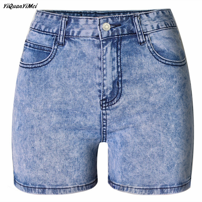 Yiquanyimei Jeans Shorts Stretch Summer Women Casual Slim Snow-Wash Female