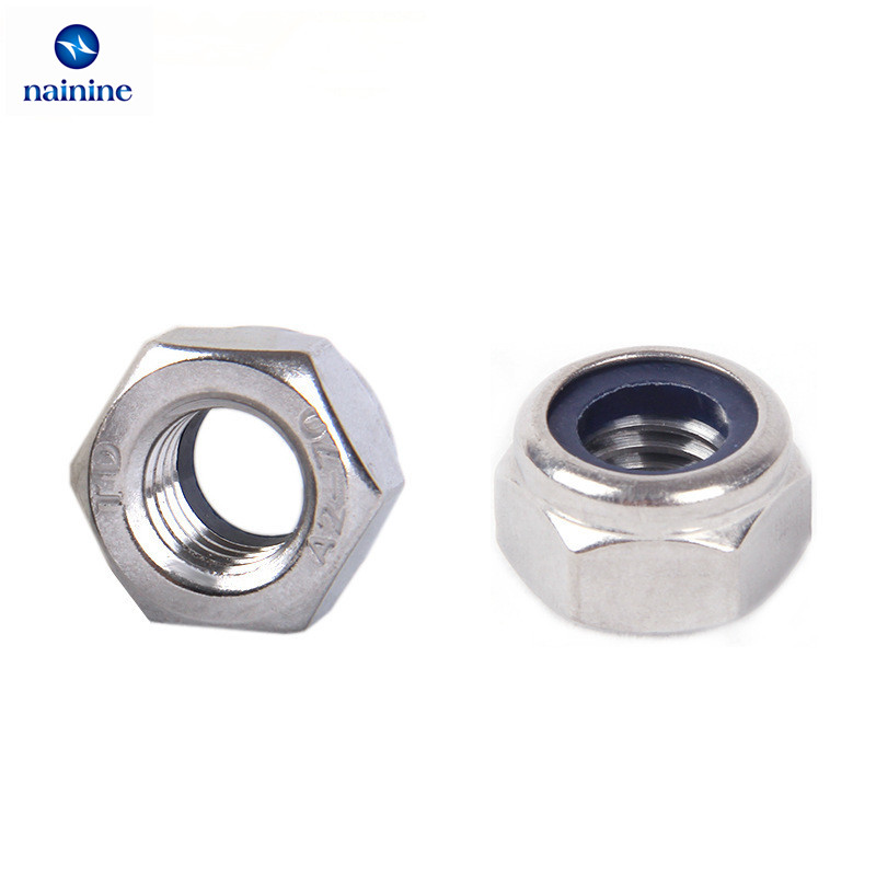 5/10/20/50Pcs DIN985 M2 M2.5 M3 M4 M5 M6 M8 M10 M12 304 Stainless Steel Nylon Self-locking Hex Nuts Locknut Slip Lock Nut HW020