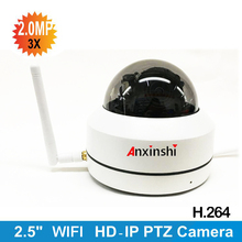 New design 2.5 inch1080P Wireless IP Mini PTZ camera IP camera 3X zoom vandalproof wifi PTZ camera