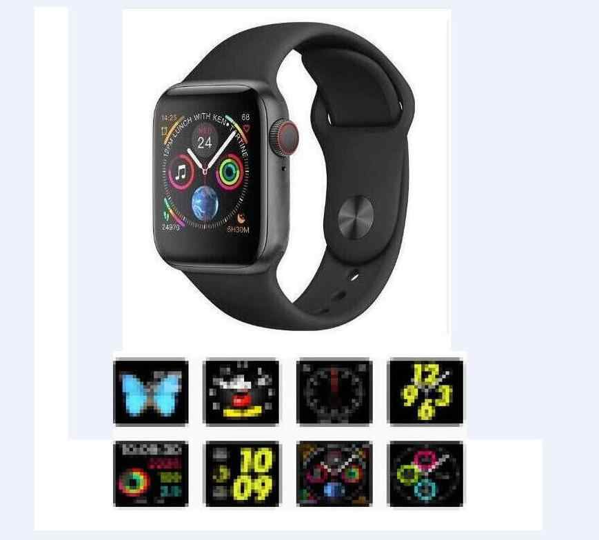 Smartwatchl Iwo 8 MTK2502C Merah Bulat Tombol 44 Mm Seri 4 Wireless Charger Wirstwatch untuk iPhone 6 7 8 X Ponsel Android