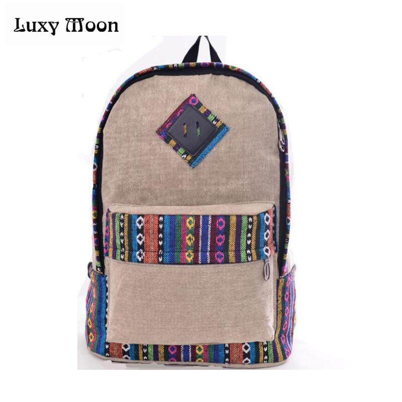 New female women ethnic brief canvas backpack preppy style school Lady girl student school Travel laptop bag mochila bolsas 2016 new style canvas leather patchwork fashion student school stachel book 15 inch travel shopping laptop computer backpack bag