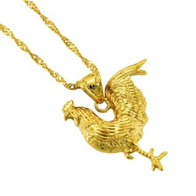 Anniyo Gold Color Chicken Necklace for Rooster Pendant and Chain Necklaces Jewelry Gifts #054502