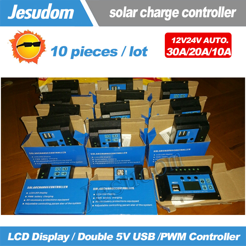Free Shipping 10PCS DC12V24V Auto 10A20A30A Solar Charge Controller PWM Solar battery charger with LCD Display