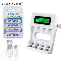 Intelligence 4 Slots LCD Display Charger For AA AAA Batteries 4 Pcs AA 1100mah Nimh Rechargeable