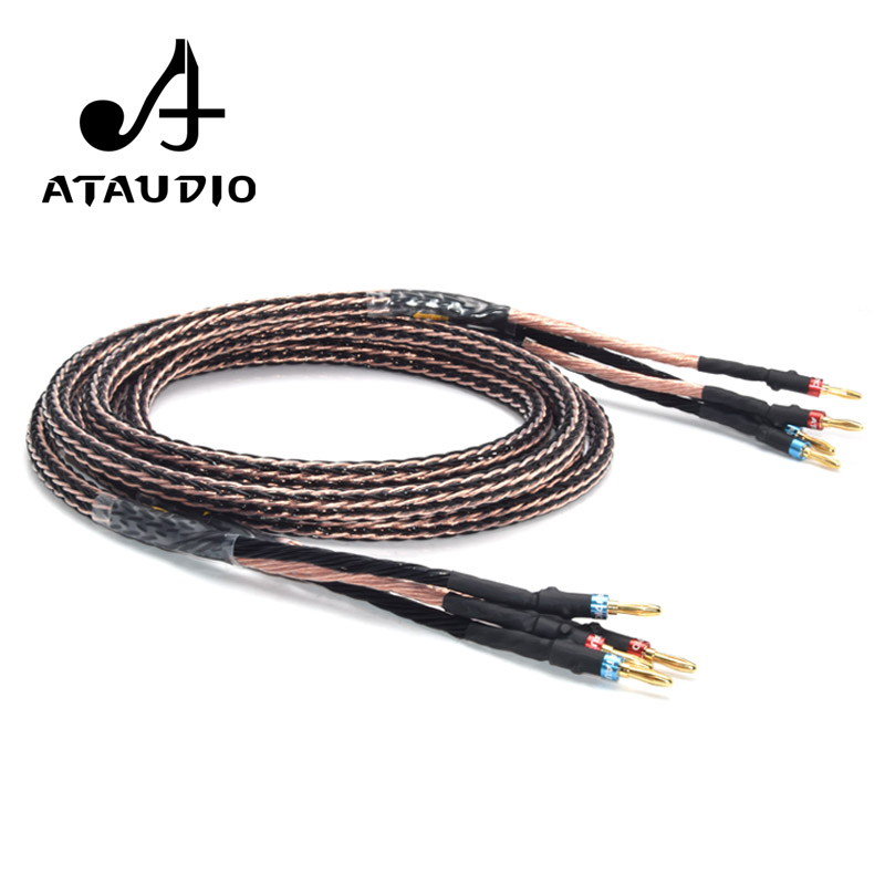 One Pair ATAUDIO Hifi Speaker Cable High Purity Copper Speaker Cord for Amplifier and loudspeaker boxOne Pair ATAUDIO Hifi Speaker Cable High Purity Copper Speaker Cord for Amplifier and loudspeaker box