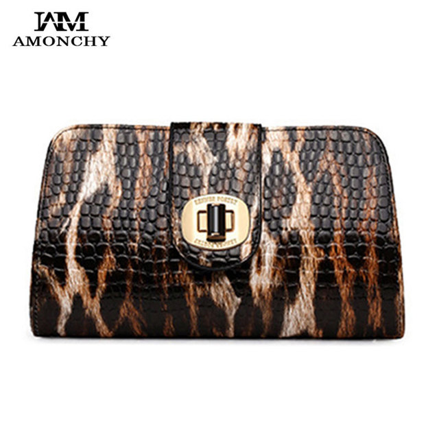 AMONCHY Brand Leopard Women's Clutches Chain Woman Shoulder Bag Fashion Leather Party Evening Bag Lady Messenger Crossbody Bags