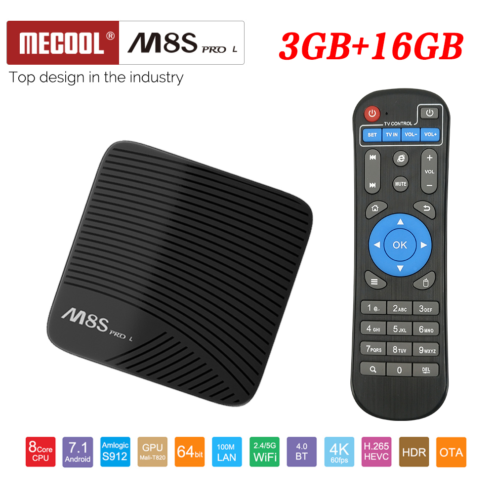 Mecool M8S PRO L 4 K TV Box Android 7.1 Smart TV Box 3 GB + 16 GB Amlogic S912 sans commande vocale Cortex A53 CPU Bluetooth 4.1
