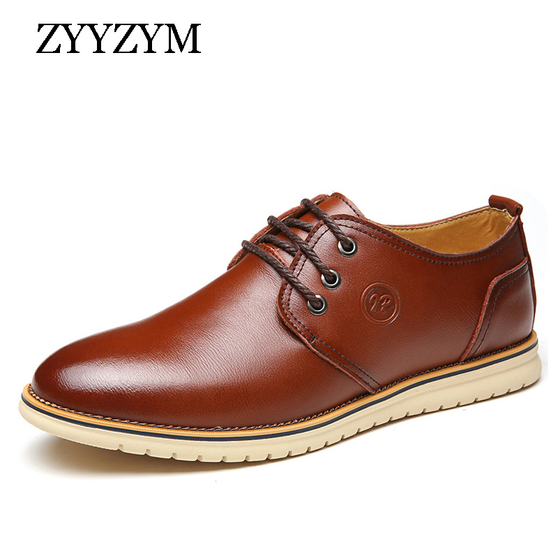 Spring Autumn Men Casual Leather Shoes Fashion Young Lace-Up Waterproof  British Breathable Flat Shoe For Man fabrecandy spring autumn men casual shoes 2017 classic breathable air mesh men shoes fashion men s flat unisex lover shoes01