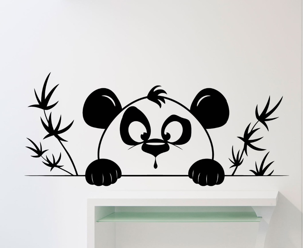 Aliexpress buy very cute panda head pattern wall mural with aliexpress buy very cute panda head pattern wall mural with bamboo silhouette art wall stickers home kids bedroom decor vinyl wall decal w 652 from amipublicfo Image collections