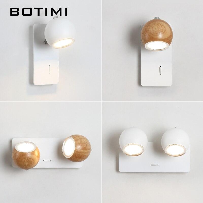 BOTIMI lampe de mur LED moderne en bois applique murale réglable Luminaira métal chevet lumières blanc lecture luminaire