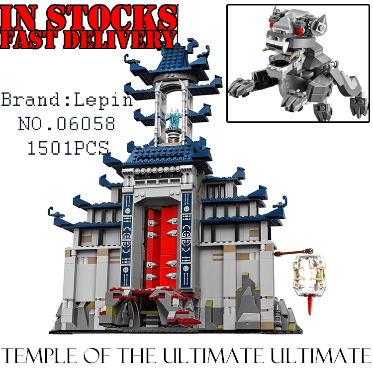 NEW LEPIN Ninja 06058 1501pcs Temple Ultimate Ultimate Weapon anime action figures Building Block Bricks Toys for children 70617 lol game weapon keychain knife holder action figures anime toys pendent garen leona xin zhao riven keyring toy for children gift