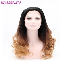 JOY&BEAUTY Hair Synthetic Long Curly Wig Lace Front Wigs Heat Resistant Fiber Hair Black Brown Ombre For Black Women Long 24″