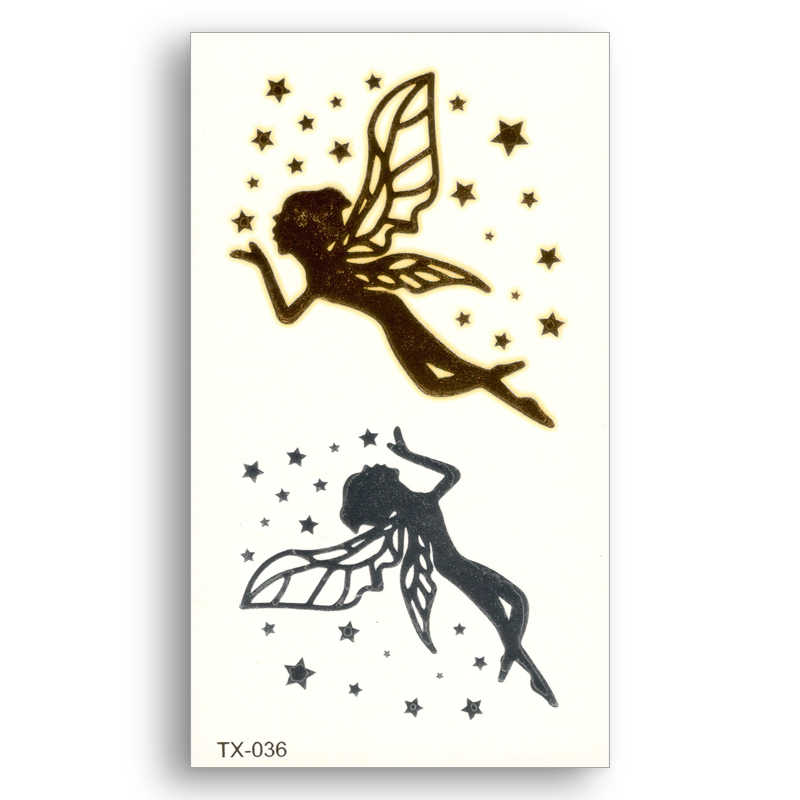 Angel star Fake tattoo Metallic Gold Sliver Waterproof Temporary Stickers Water Transfer Flash Glitter Body Art for kids