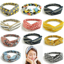 2018  korean style Women Hair Accessories Turban flower Headband Floral Prints Bandanas Elastic Hair Bands Gum Hair for Girls natural lace front wigs for black women synthetic hair middle part wig pink straight hair style