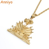 Anniyo Haiti Pendant And Necklace For Women Girls Ayiti Items Silver Gold Color Jewelry Gifts Of