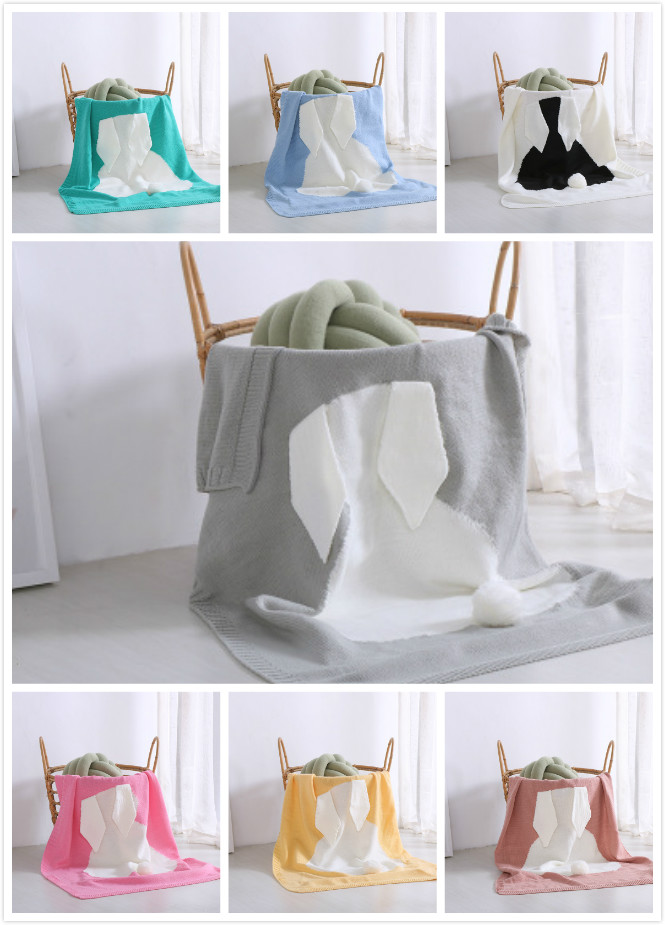 New Gray Pink Baby Knitted Blankets Rabbit Crochet Newborn Blanket Kid Wrap Personalized Cotton Bedding Cover Babies Photo Props