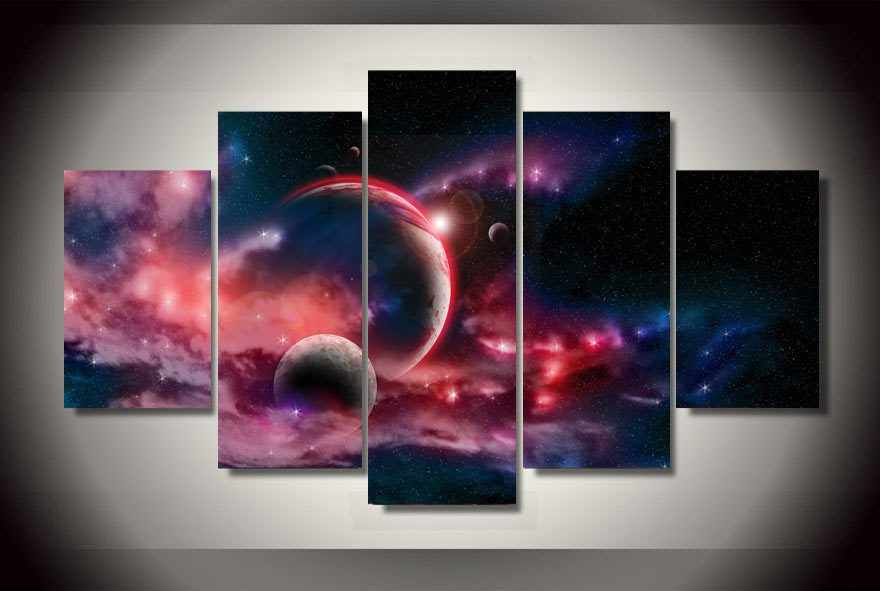 Print Landscape Modular Picture Frame Large Canvas Print Painting 5 Panel Magic Universe Planets Canvas Oil Home Wall Art Decor