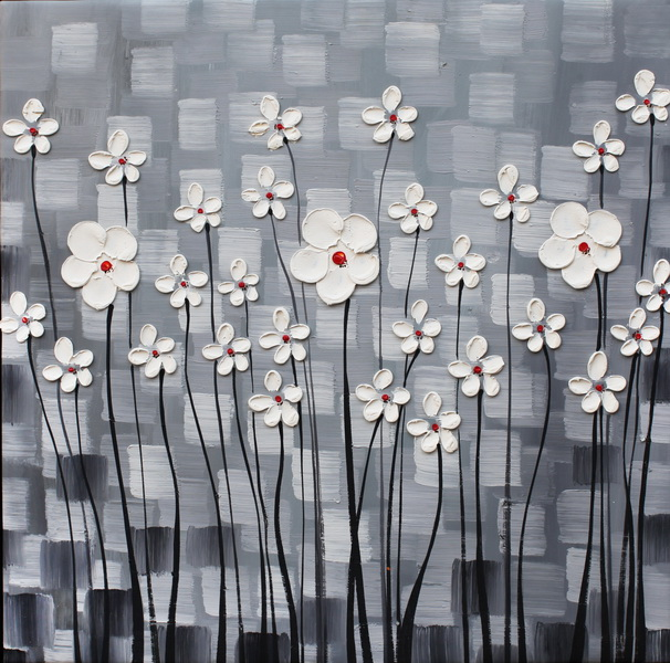 White Flower Grey Background Canvas Oil Painting Thick Knife Blossom Hand  Painted Picture Modern Wall Art