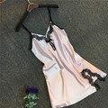 Cor soild laço strape verão seda camisola do sexo feminino com decote em v sexy short vestido roupões para as mulheres