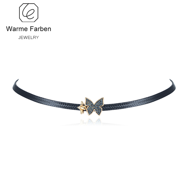 WARME FARBEN Jewelry Women Necklaces Crystal from Swarovski Choker  Necklaces Black Rope Chain Butterfly Bow Clavicle f982dab8ee92