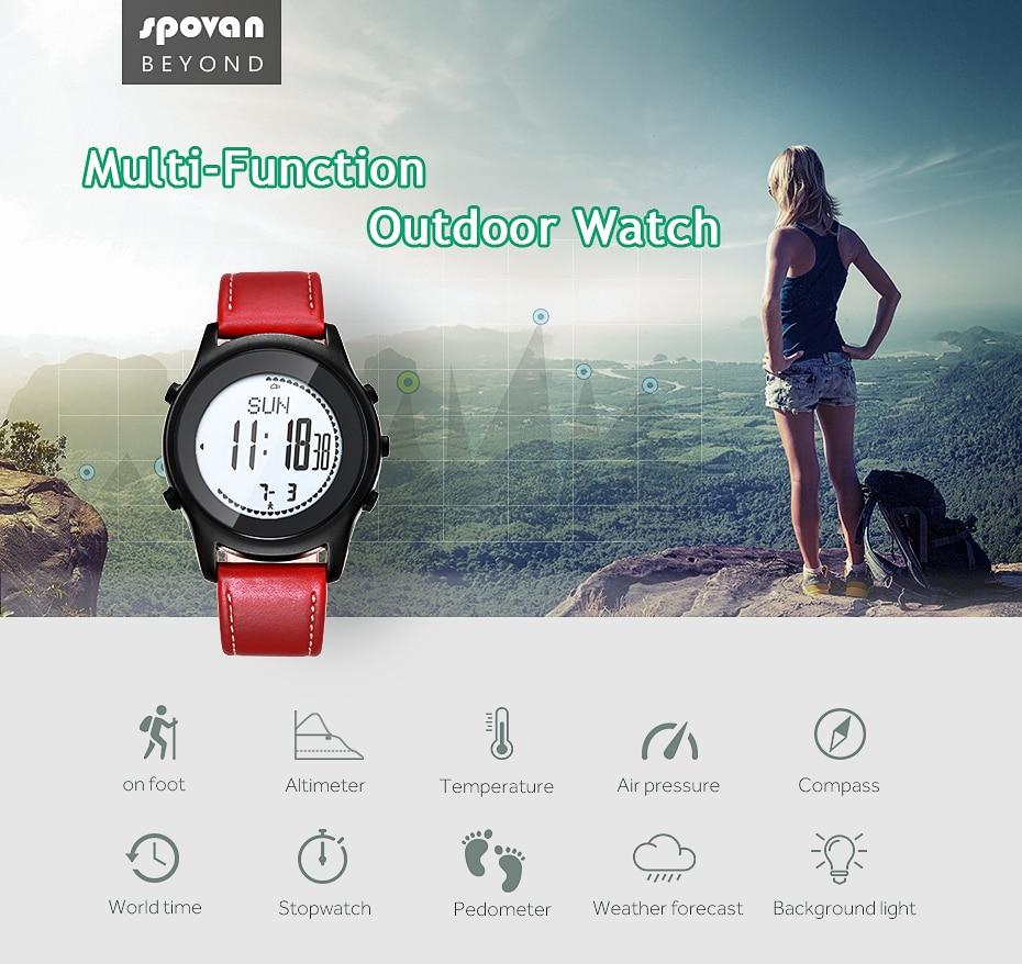 SPOVAN Men Women Sport Watch Fashion Ultra Thin Carbon Fiber Dial Red Genuine Leather Altimeter Barometer Multifunction watches - 5