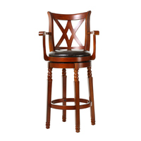 American Solid Wood Rotating Bar Chairs Retro European Simple Cafe Bar Stool Bar Chair Backrest
